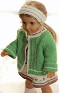 dollknittingpattern 0147d sophia - dress, jacket, pants, socks and hairband -(english)
