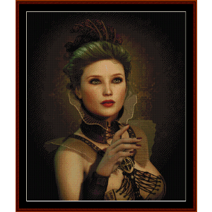 steampunk fashion lady - fantasy cross stitch pattern by cross stitch collectibles