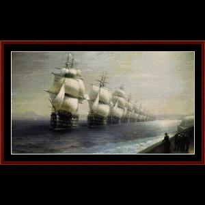parade of the black sea fleet - aivazovsky cross stitch pattern by cross stitch collectibles