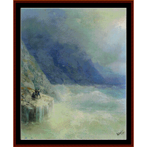 rocks in the mist, 1890 - aivazovsky cross stitch pattern by cross stitch collectibles