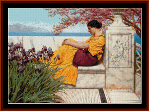 under the blossoms, 1917 - godward cross stitch pattern by cross stitch collectibles