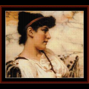 the siesta, 1895 - godward cross stitch pattern by cross stitch collectibles