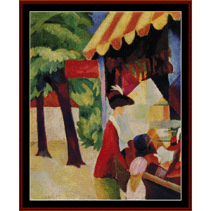 the hat shop - macke cross stitch pattern by cross stitch collectibles