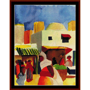 market in algiers - macke cross stitch pattern by cross stitch collectibles