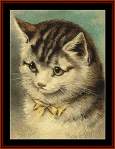cat with yellow ribbon - vintage art cross stitch pattern by cross stitch collectibles