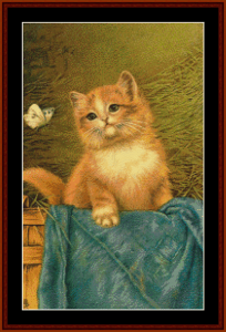 cat with butterfly - vintage art cross stitch pattern by cross stitch collectibles