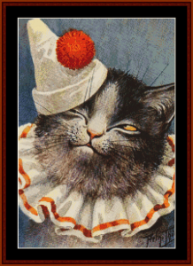 clown cat - vintage art cross stitch pattern by cross stitch collectibles