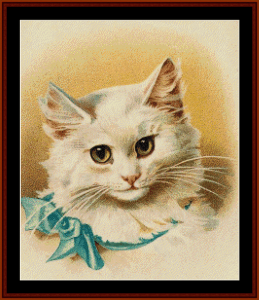 cat with blue ribbon - vintage art cross stitch pattern by cross stitch collectibles