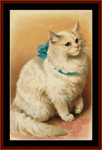 cat with blue ribbon ii - vintage art cross stitch pattern by cross stitch collectibles