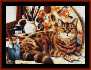 artistic cat - vintage art cross stitch pattern by cross stitch collectibles
