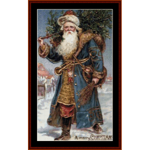 santa with tree - vintage art cross stitch pattern by cross stitch collectibles