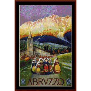 abruzzo - vintage poster cross stitch pattern by cross stitch collectibles