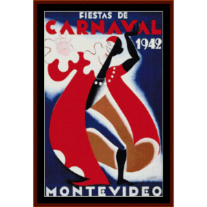 Carnaval, Montevideo 1942 - Vintage Poster cross stitch pattern by Cross Stitch Collectibles | Crafting | Cross-Stitch | Wall Hangings