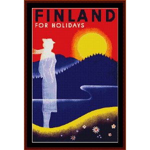 finland for holidays - vintage poster cross stitch pattern by cross stitch collectibles