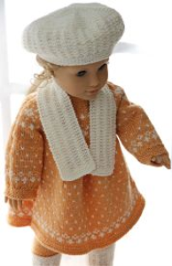 dollknittingpattern0148d fredrikke - dress, pants, shoes, hat, and scarf-(english)