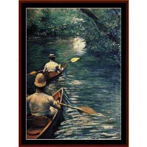 The Canoes, 1878 - Caillebotte cross stitch pattern by Cross Stitch Collectibles | Crafting | Cross-Stitch | Wall Hangings