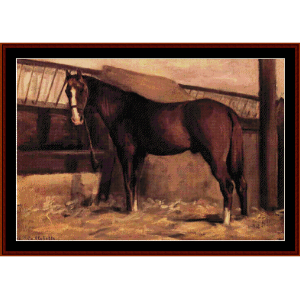 reddish bay horse in stable - caillebotte cross stitch pattern by cross stitch collectibles