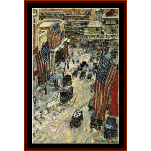 flags on 57th st., 1918 - childe-hassam cross stitch pattern by cross stitch collectibles