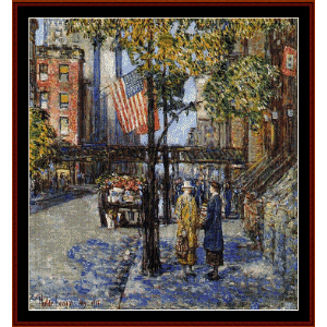 flags on the friar's club - childe-hassam cross stitch pattern by cross stitch collectibles