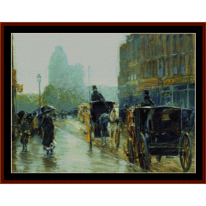 horse drawn cabs, evening, ny - childe-hassam cross stitch pattern by cross stitch collectibles