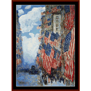 4th of july, 1916 - childe-hassam cross stitch pattern by cross stitch collectibles