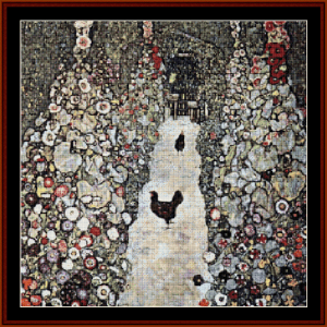 Garden with Roosters - Klimt cross stitch pattern by Cross Stitch Collectibles | Crafting | Cross-Stitch | Wall Hangings