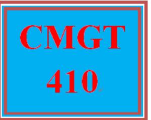 CMGT 410 Entire Course | eBooks | Education