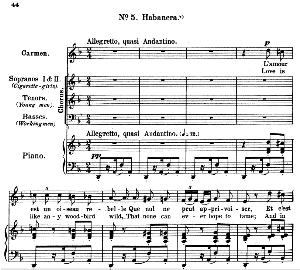 l'amour est un oiseau rebelle (habanera). mezzo/soprano aria (carmen). g. bizet: carmen, act. i sc. 5, vocal score (a4). ed. schirmer, french/engl.