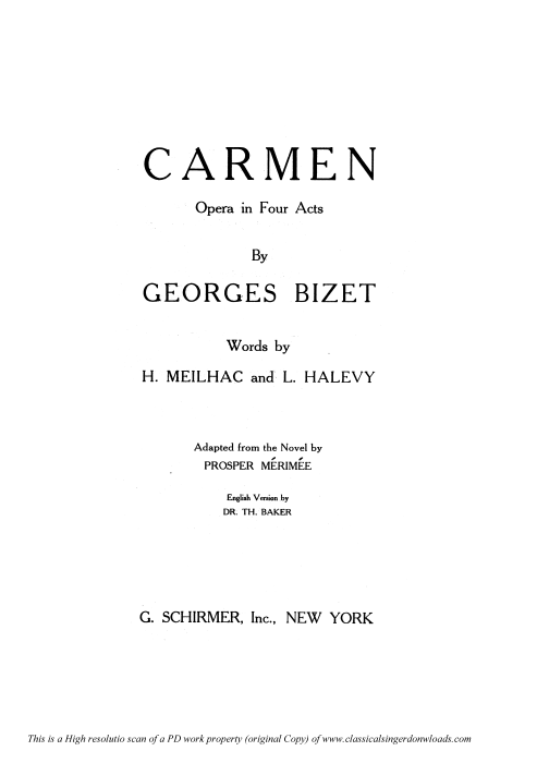 First Additional product image for - La fleur que tu m'avais jetée... Aria for Tenor (Don José). G. Bizet: Carmen, Act II. Vocal Score, Ed. Schirmer. French/engl. PD.
