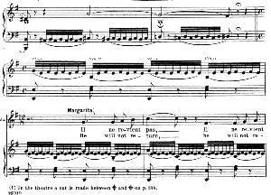 """elles se cachaient...il ne revient pas. recitative and aria for soprano (marguerite). """"spinning song"""". ch. gounod: faust, act iv no. 10. vocal score, ed. schirmer (1902).french/english (pd)"""
