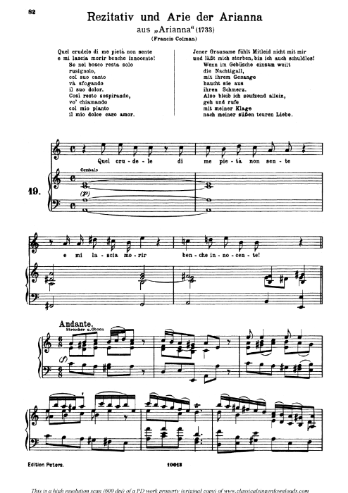 First Additional product image for - Quel crudele pietà di me non sente: Soprano Aria (Arianna) in A minor (original key). G.F.Haendel. Arianna HWV 32, Vocal Score, Ed. Peters, Gesange für eine frauenstimme, Ed. H. Roth (1915). 5pp. Italian. (A4 portrait)