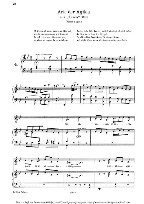 First Additional product image for - Si t'amo o caro: Soprano Aria (Agilea) in G minor (original key). G.F.Haendel. Teseo HWV 9, Vocal Score, Ed. Peters, Gesange für eine frauenstimme, Ed. H. Roth (1915). 4pp. Italian. (A4 portrait)