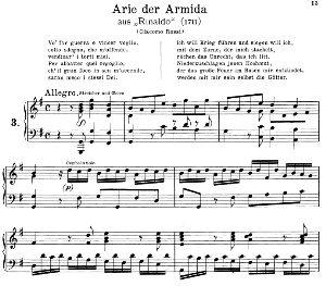 vo far guerra: soprano aria (armida) in g major (original key). g.f.haendel. rinaldo hwv 7, vocal score, ed. peters, gesange für eine frauenstimme, ed. h. roth (1915). 4pp. italian. (a4 portrait)