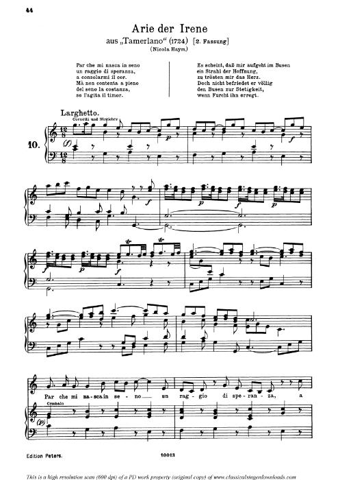 First Additional product image for - Par che mi nasca in seno: Contralto Aria (Irene) in C Major (original key). G.F.Haendel. Tamerlano HWV 18, Vocal Score, Ed. Peters, Gesange für eine frauenstimme, Ed. H. Roth (1915). 4pp. Italian.(A4 portrait)