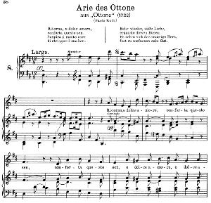 ritorna, o dolce amore: contralto aria (ottone) in d major (original key). g.f.haendel. ottone hwv 15, vocal score, ed. peters, gesange für eine frauenstimme, ed. h. roth (1915). 2pp. italian. (a4 portrait)