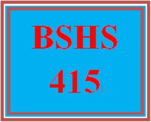 BSHS 415 Week 1 Weekly Journal Entry | eBooks | Education