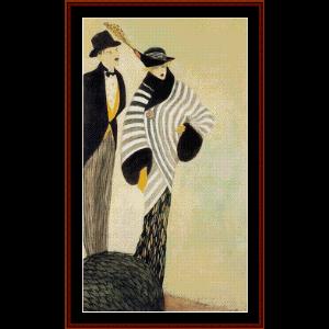 cunha taylors, 1913 - almada-negreiros cross stitch pattern by cross stitch collectibles