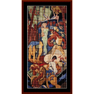 sunday in lisbon, right - almada-negreiros cross stitch pattern by cross stitch collectibles