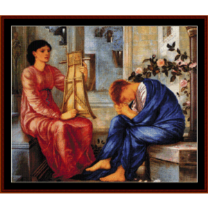 the lament, 1866 - burne-jones cross stitch pattern by cross stitch collectibles