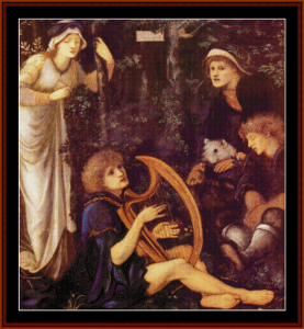 the madness of sir tristam - burne-jones cross stitch pattern by cross stitch collectibles