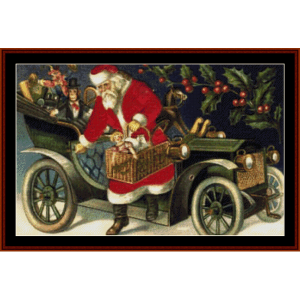 Santa with Basket - Vintage Christmas cross stich pattern by Cross Stitch Collectibles | Crafting | Cross-Stitch | Wall Hangings