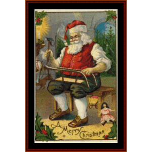Santa at Work - Vintage Christmas cross stitch pattern by Cross Stitch Collectibles | Crafting | Cross-Stitch | Wall Hangings