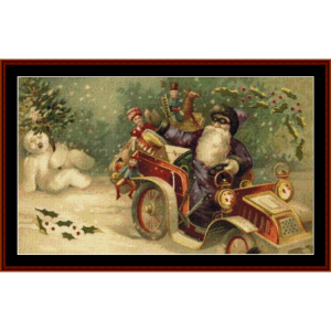 santa with snowman - vintage christmas cross stitch pattern by cross stitch collectibles