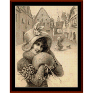 woman with muff - vintage christmas cross stitch pattern by cross stitch collectibles