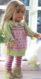 DollKnittingPattern 0054D LEONORA - Dress, Leggings, Shoes and Hat-(English) | Crafting | Knitting | Other