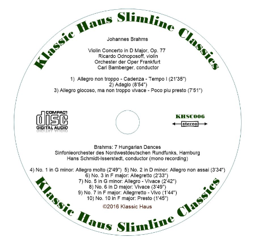 Second Additional product image for - Brahms: Violin Concerto, Op. 77 - Ricardo Odnoposoff, violin; Orchester der Oper Frankfurt - Karl Bamberger; 7 Hungarian Dances - Sinfonieorchester des Nordwestdeutschen Rundfunks Hamburg - Hans Schmidt-Isserstedt
