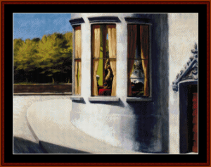 august in the city - edward hopper cross stitch pattern by cross stitch collectibles