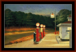 gas - edward hopper cross stitch pattern by cross stitch collectibles