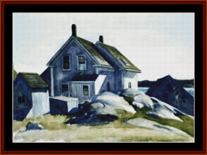 house at the fprt. gloucester - hopper cross stitch pattern by cross stitch collectibles