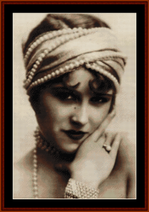 flapper with beads - vintage art cross stitch pattern by cross stitch collectibles